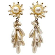 Vintage Faux Pearl Cluster Dangle Earrings Clip On