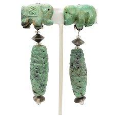 Vintage Turquoise Elephant Dangle Earrings