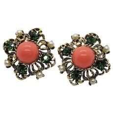 Vintage Rhinestone Cabochon and Imitation Pearl Earrings