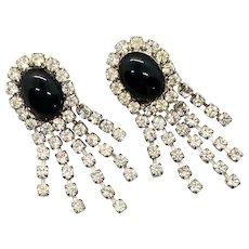 Glamorous Vintage Rhinestone Earrings with Black Cabochon Pierced