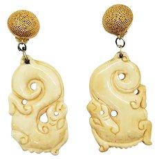 Vintage Carved Bone Dragon Earrings Sterling Silver Clips
