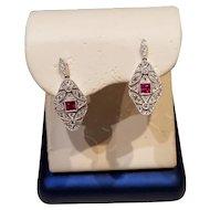 Fabulous Ruby & Diamond Earrings