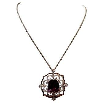 18kt Rhodolite Garnet and Diamond Necklace