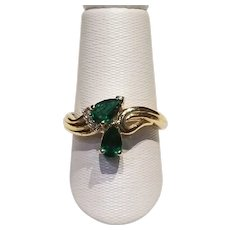 14KT YG Twin Pear Emerald and Diamond Ring