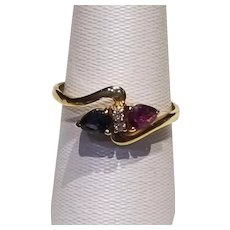 Pink Sapphire Diamond and Blue Sapphire Two Stone Ring in 18k Yellow Gold