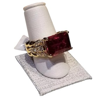 Rubellite Tourmaline and Diamond Ring set in 14 kt Gold