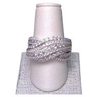 Interwoven stylish bypass diamond ring