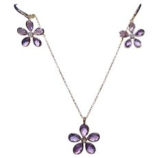 Amethyst and Diamond Earring/Necklace Set