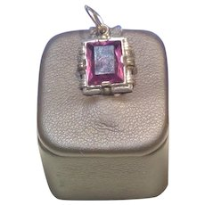 Vintage Silver Pendant with Purple Spinel