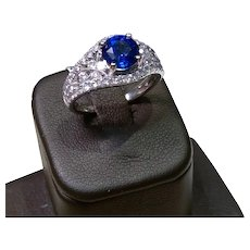 Custom 18kt Natural Sapphire and DIamond Ring