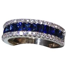 Blue Sapphire and Diamond 18kt White Gold Ring
