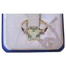 Peridot and CZ 10kt YG Ring