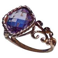 Cushion Cut Amethyst Ring in 14k Rose Gold