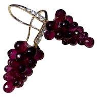 14kt. Gold Diamond Amethyst Grape Cluster Earrings