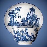 "Antique Tea Bowl & Saucer, Caughley, ""Mother & Child"", 18th C"