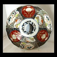 Antique Japanese Imari Plate, Stylized Peach,  Late Meiji Era