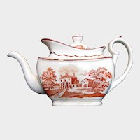 Antique English Teapot, Red Bat Prints of Middlesex & South Wales, Early 19th C, A/F