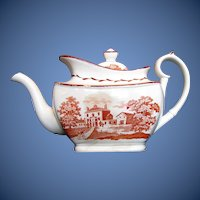 Antique English Teapot, Orange Bat Print, Early 19th C, A/F
