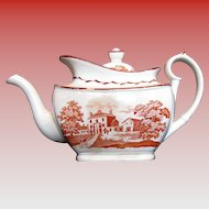 English Teapot, Orange Bat Print,  Antique Early 19th C, A/F