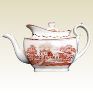 Antique English Teapot, Orange Bat Print, Early 19th C, A/F