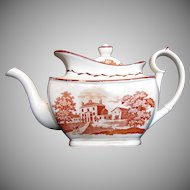 English Teapot, Orange Bat Print,  Antique Early 19th C, A/F