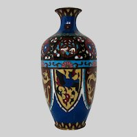 """Japanese Cloisonne Vase, 7"""", Stylized Phoenix & Dragon"""