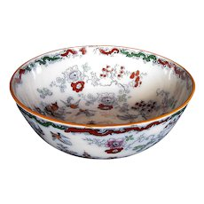 Antique Large Bowl,  English Chinoiserie, Mason's/Ashworth Ironstone , 19th C