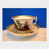 Antique Porcelain Cup & Saucer, Hand Painted Rural Scenes, 19th C