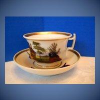 Antique Porcelain Cup & Saucer, Hand Painted Rural Scenes, 19th C