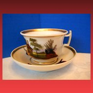"""Old Paris"" Porcelain Cup & Saucer, Hand Painted Scenes, Antique 19th C"