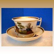 """""""Old Paris"""" Porcelain Cup & Saucer, Hand Painted Scenes, Antique 19th C"""