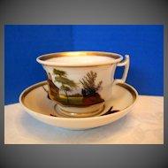 """Antique """"Old Paris"""" Porcelain Cup & Saucer, Hand Painted Scenes, 19th C"""