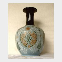 Antique English Art Pottery Vase,  Lovatt Langley Mill, Osborne Ware,  Repaired