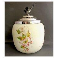 Wave Crest Biscuit Barrel/Jar, Antique American Art Glass