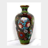 Antique Japanese Cloisonne Vase, Small, Meiji Era