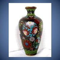 Antique Japanese Cloisonne Vase, Small, Meiji Era
