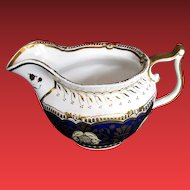 Rare John Yates Porcelain Creamer, Blue w/Gilding, Antique Early 19th C English