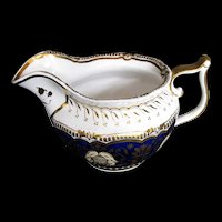 Antique Yates Creamer, Blue w/Gilding,  Early 19th C English Porcelain