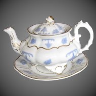 Antique English Teapot & Stand,  Lilac Sprigs,  3 Feet, Early 19th C