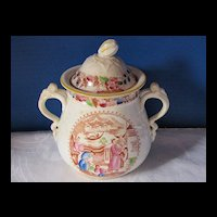 Antique English Covered Sugar, Polychrome Chinoiserie, Early 19th C