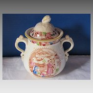 Large Covered Sugar, English Chinoiserie, Antique Early 19th C