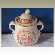 """Covered Sugar Bowl, English Chinoiserie, """"Mongol Huntsman"""", Antique Early 19th C"""