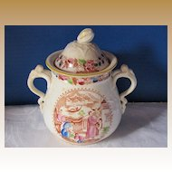 "Covered Sugar Bowl, English Chinoiserie, ""Mongol Huntsman"", Antique Early 19th C"