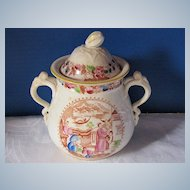 Antique Covered Sugar, English Polychrome Chinoiserie, Early 19th C