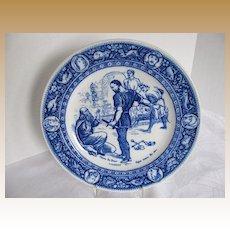 """Antique Wedgwood Plate,  Flow Blue  """"Ivanhoe"""", Front de Boeuf"""