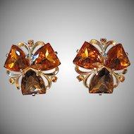 Signed Elsa Schiaparelli Earrings, Large Topaz & Citrine Faux Stones, Clip, Patented