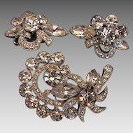 Signed Eisenberg Ice Demi Parure Clear Brooch & Earring Set, Vintage