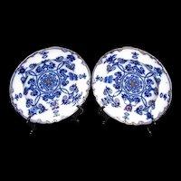 Antique English Flow Blue Soup Plates/Bowls,(2), 19th C