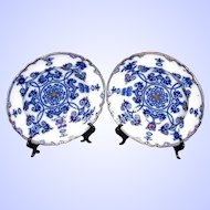 Antique Flow Blue Soup Plates/Bowls, a Pair, 19th C English