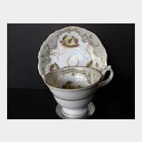 Antique English Porcelain Cup & Saucer, Hand Painted Landscape Vignettes, Early 19th C